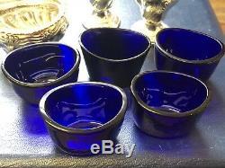 Cruet / Condiment Antique En Argent Sterling Edwardien - 7 Pièces Cased #gt