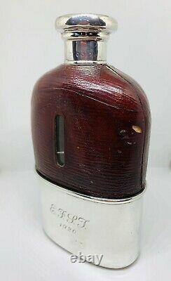 Cuir Victorien En Argent Massif En Verre Bound Flasque En Date De 1882