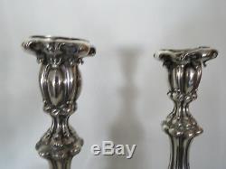 Début Des Années 1900 Hand Made 19 Oz En Argent Sterling Paire De Shabbat Bougie Sticks 9284