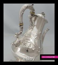 Edward & Barnard Antique Victorian Argent Sterling Thé / Café Pot Londres 1842