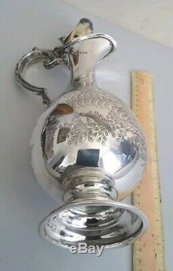Elegant, Engraved Antique Argent Massif Pichet De Vin. 687gms. Ht. 31cms. Lon. 1894