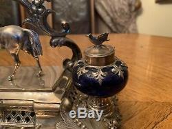 Encrier De Style Victorien Antique Allemand En Argent Massif 900 Avec Figurine De Cheval