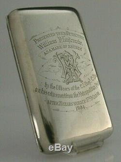 Étui À Cigares De Police Victorien En Argent Massif, Famille Jack Ripper Era Luscombe