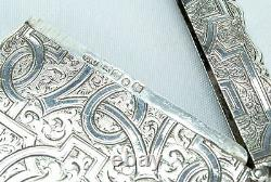 Étui De Carte En Argent Sterling Victorien 1857 Antique Gravé En Anglais