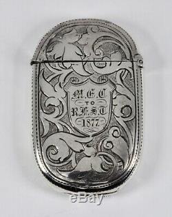 Étui Vesta Antique Anglais Victorien En Argent Massif (hilliard & Thomason, 1877)