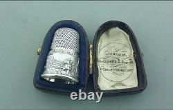 Excellente Exposition De Thimble D'argent Victorien Cased 1851