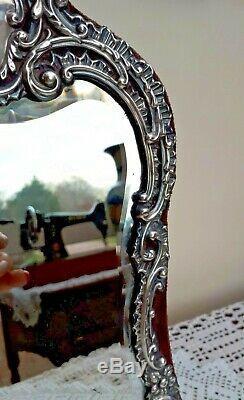 Fab! Grand Miroir De Table De Coiffeuse En Argent 12,5 Henry Matthews C1901