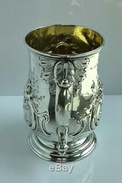 Fabuleux Embossé Sterling Vermeil Pinte Mug Londres 1875 Bière Tankard