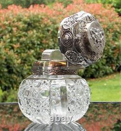 Fabuleux Victoriens John Grinsell Solide Silver Glass Monté Scent-perfume Bottle