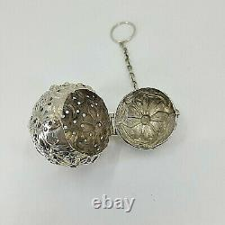 Fabulous Sterling Antique Tea Ball Infuser Blown Out Flowers Fabricant Inconnu