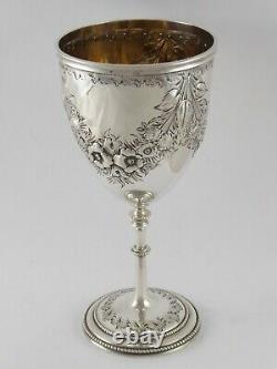 Fine Anticique Émbossé Victorien Solide Sterling Silver Goblet Cup 1869 143 G
