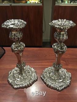 Fine & Rare Paire De Chandeliers En Argent Sterling De Style Victorien. Sheffield, Vers 1900
