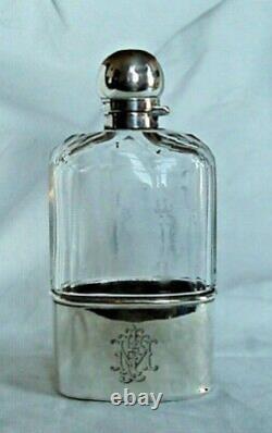 Flacon De Hanche Verre Coupé Victorien Et Argent Sterling Londres 1895