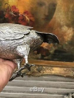 Forme Sprinkler Antique Rare Argent Massif Decanter Eau Pigeon Oiseau Londres 1897