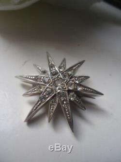 Gl & Co 1890. Sublime Antique Victorian Diamant Pâte Étoile Broche Pendentif Argent