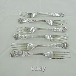 Good Sterling Silver Set Of Six Kings Pattern Dessert Fourches Londres 1853