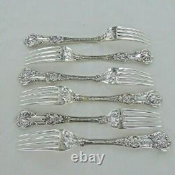 Good Sterling Silver Set Of Six Kings Pattern Dinner Fourches Londres 1853