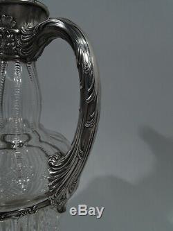 Gorham Decanter S1936 Verre Américain Brillant Découpant Abc & Argent Massif