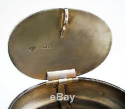 Grand 3 Oz! Antique 1902 Argent Sterling Anglais Tabac Vesta Pincez Boîte / Case