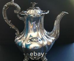 Grand Barnard Victorian Antique Anglais Sterling Silver Coffee Pot Londres 1839