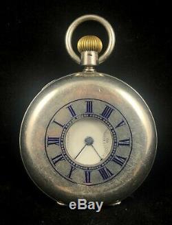 Grand Waltham Argent Half Hunter Travail Pocket Watch & Argent Albert Chain