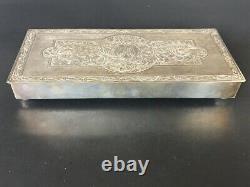 Grande Boîte À Cigares Gravée À La Main En Argent Sterling De 900 Sterling Ou Boîte À Cartes À Jouer