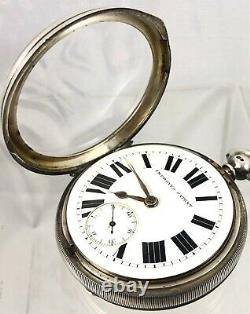Grande Victorian Sterling Silver Fusee Working Pocket Watch Chester 1896