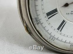 Grande Victorienne En Argent Sterling Sans Clé Chronograph Montre De Poche 20005