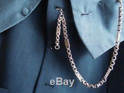Handsome Victorian Fancy Stars & Bars Chaîne De Montres Albert Pocket Or 9 Carats 26.7g