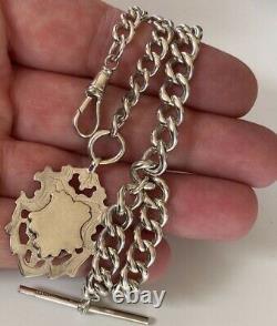 Heavy Large Antique Argent Massif Albert Pocket Chaîne De Montres 49,6 Grams