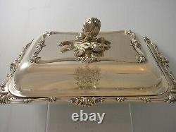 Heavy Victoria Elkington Armorial Lucas 1852 Énorme Silver Entree Dish 1884 Grammes