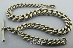 Heavy Victorian Solid Sterling Silver Albert Pocket Watch Chain & T-bar Bir 1892