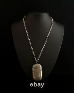 Housse Victorienne Antique En Argent Vesta, Gravée En Lierre