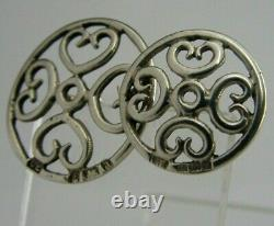Huit Victorian Solid Sterling Argent Art Nouveau Boutons 1900 Cœurs Antiques