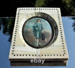 Immeillement Victorien Portrait Framed Miniature Blue Boy Après Gainsborough Signé