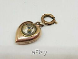 Laiton Victorienne Rare Antique Boussole Coeur Montre De Poche Fob