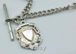 Lourde Antique Poinçonnés Argent Massif Albert Pocket Watch Chain & Fob