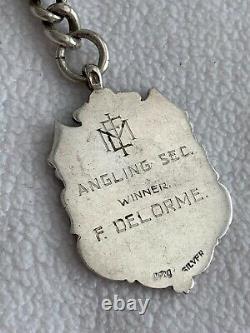 Lourde Antique Victorian 1900 Argent Albert Montre De Poche Chaîne & Fob Médaille