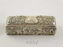 Lovely Anticique Victorian Solid Sterling Silver Ring Trinket Box Chester 1899 46g