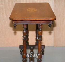 Lovely Victorian Walnut Inclaid Silver Tea Ou Occasionnel Side Table Lovely Inlay