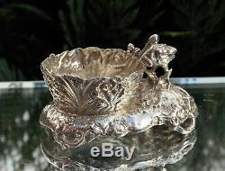Magnifique Rare Victorian Silver Silver Stalk & Baby Open Salt Londres 1898
