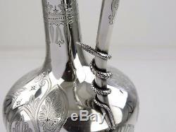Magnifique Vin En Argent Ou Ewer Claret Jug, Londres 1875 S Smith Intérieur Gilt