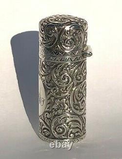 Magnifiquement Gravé Antique Scent Bouteille Sterling Argent Hm 1887 Am
