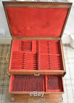 Massive Continental Oak Couverts / Cantine Box Pour Un Grand Nombre De Couverts Sterling