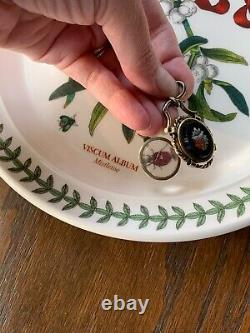 Micromosaic Onyx Silver Gold Victorian Magnifying Locket Mourning Pendentif Floral