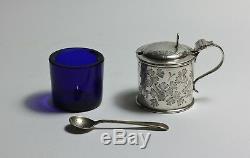 Moutarde À Pot De Moutarde Et Cuillère En Argent Sterling D'époque, Coupe Florale De Style Victorien