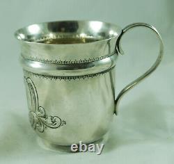 Mug De Baptême D'argent Chassé Victorien Samuel Walton Smith Birmingham 1892 112g