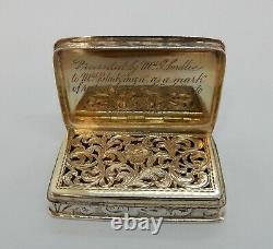 Nathaniel Mills Good Sized Solid Silver Gravé Vinaigrette, Birmingham 1840