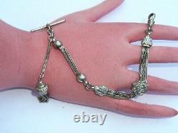 Nice Argent Massif Victorian Ladies Pocket Watch Albertina Chaîne T Bar Et Gland