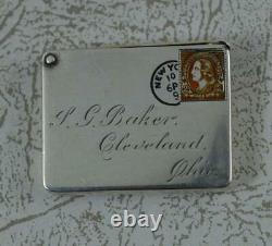Nouveauté Victorian Ohio Sterling Silver & Enamel Stamp Letter Holder